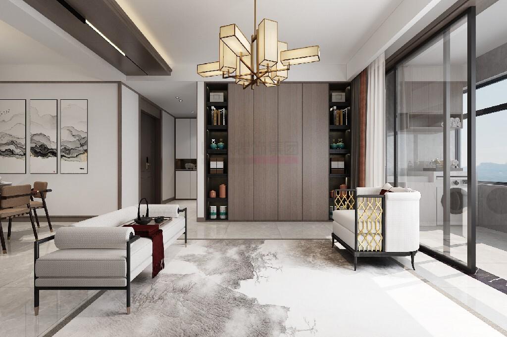 新中式风格三室两厅装修效果图