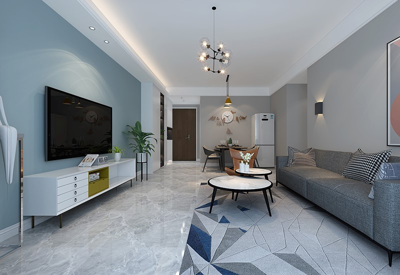 100平米新房装修案例效果图:简约现代风三居室