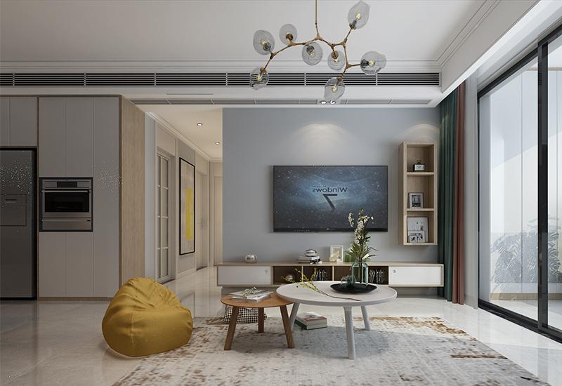 合肥公园里97平新房装修案例:清新北欧风三居室