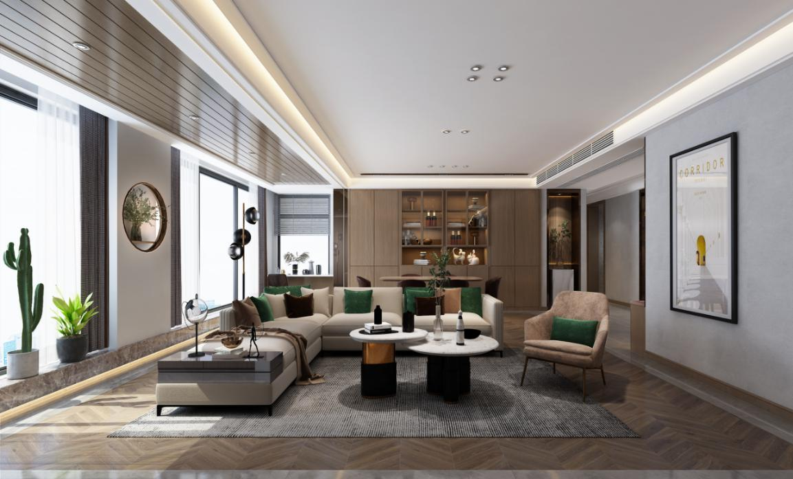 横向客厅怎么设计?庐州公馆140㎡现代风案例