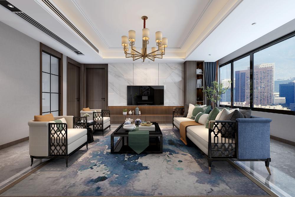 新中式<span style='color: #ff0000'>客厅</span>如何装修设计?200㎡新中式风格装修案例