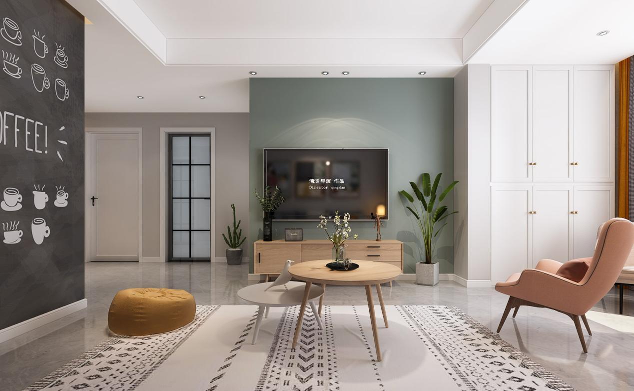 小户型客厅如何设计不显紧凑?这款83平米<span style='color: #ff0000'>北欧风</span>设计太赞了
