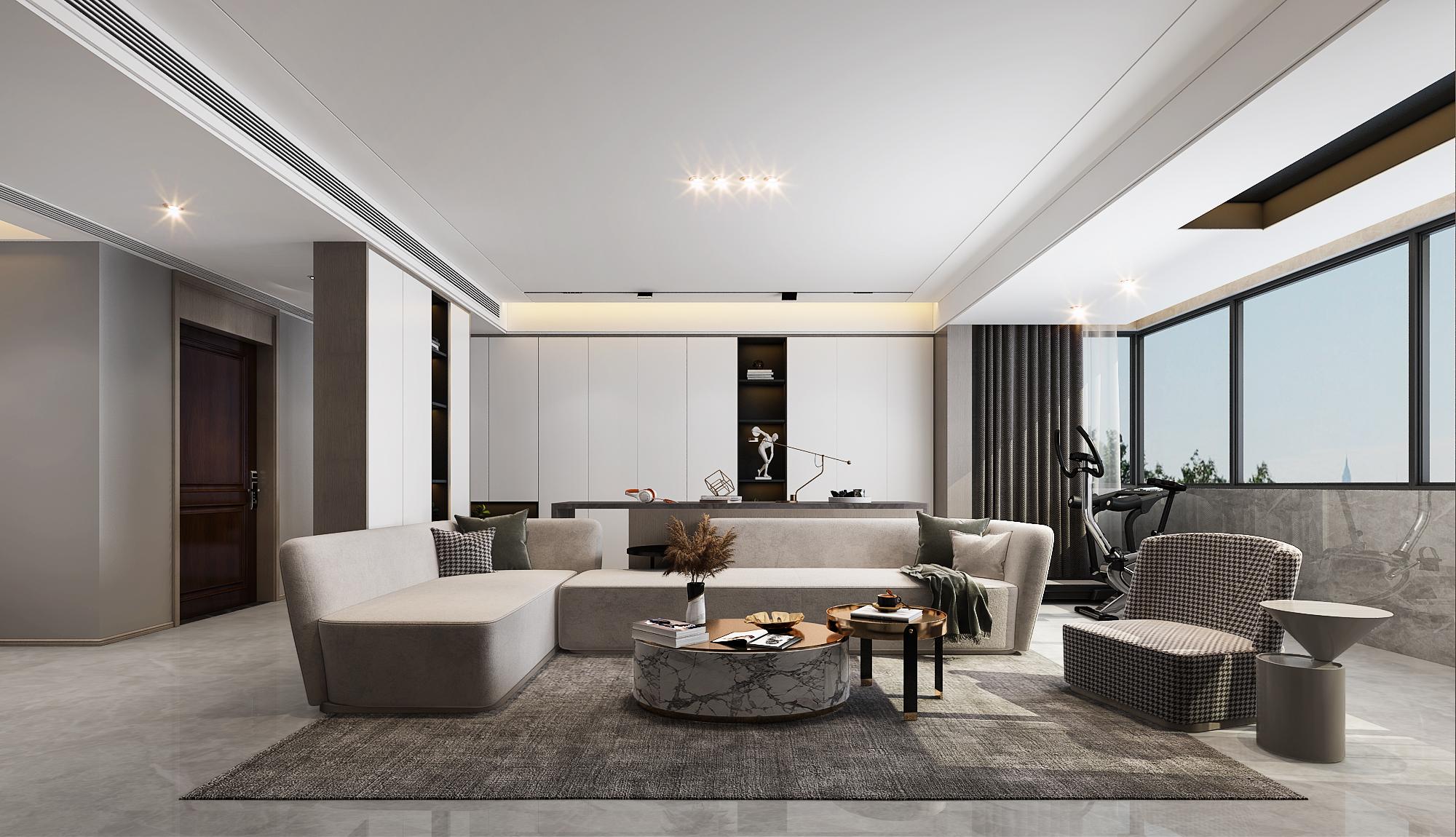 <span style='color: #ff0000'>现代风格</span>新房装修设计案例,客厅的布局可以借鉴