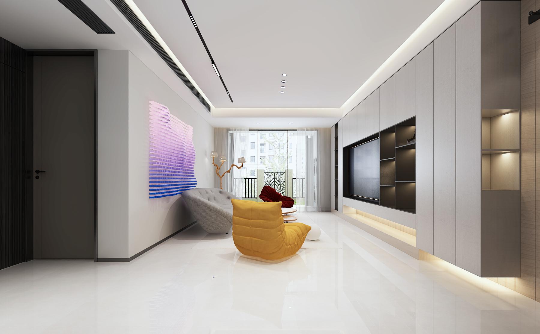 超有个性的沙发背景墙设计,117㎡<span style='color: #ff0000'>现代风格</span>个性十足