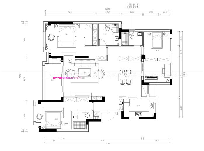 华润桃源里150㎡混搭风格新房装修设计案例解析