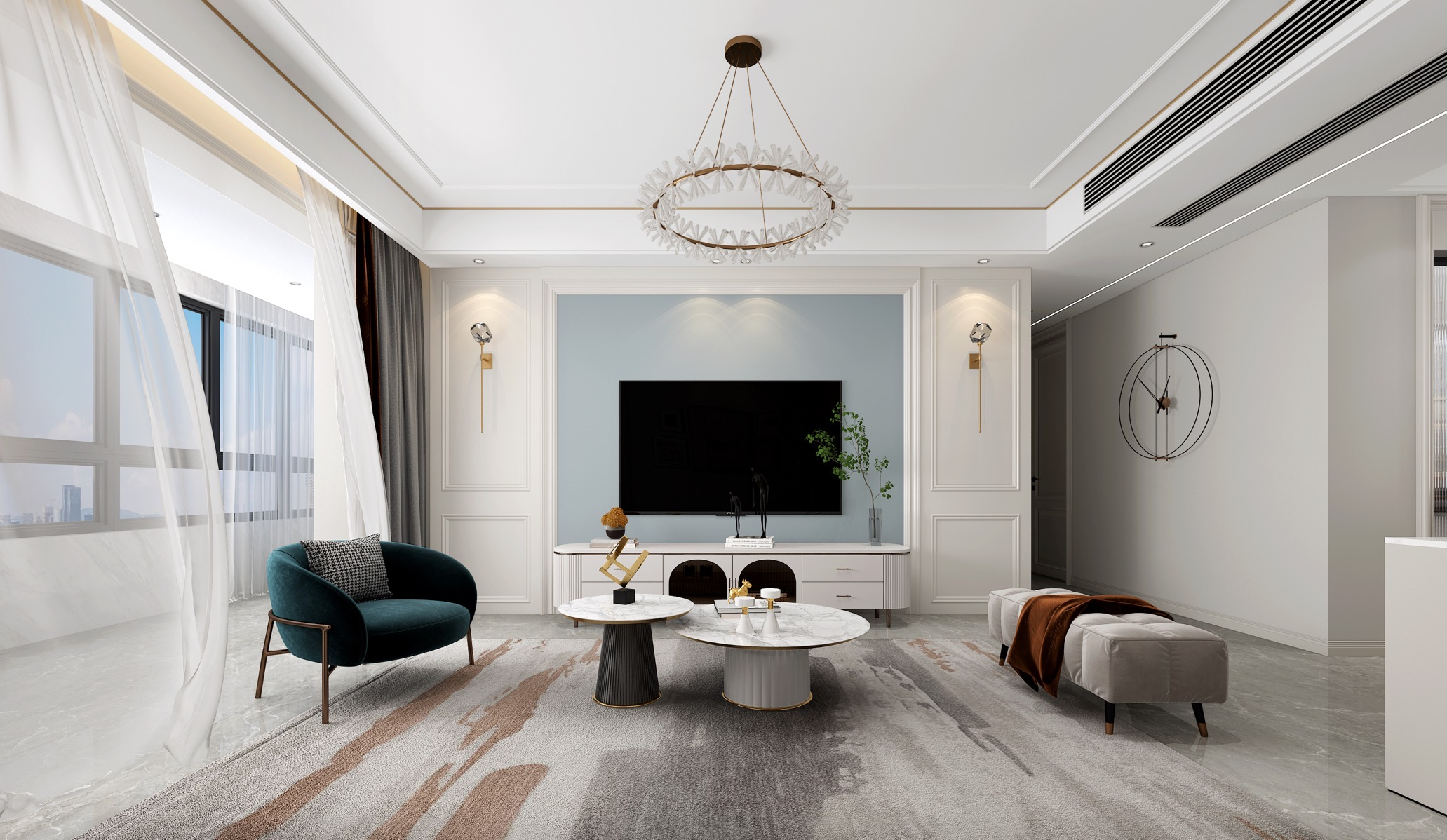 城建琥珀东华府132㎡法式轻奢风格新房装修设计案例