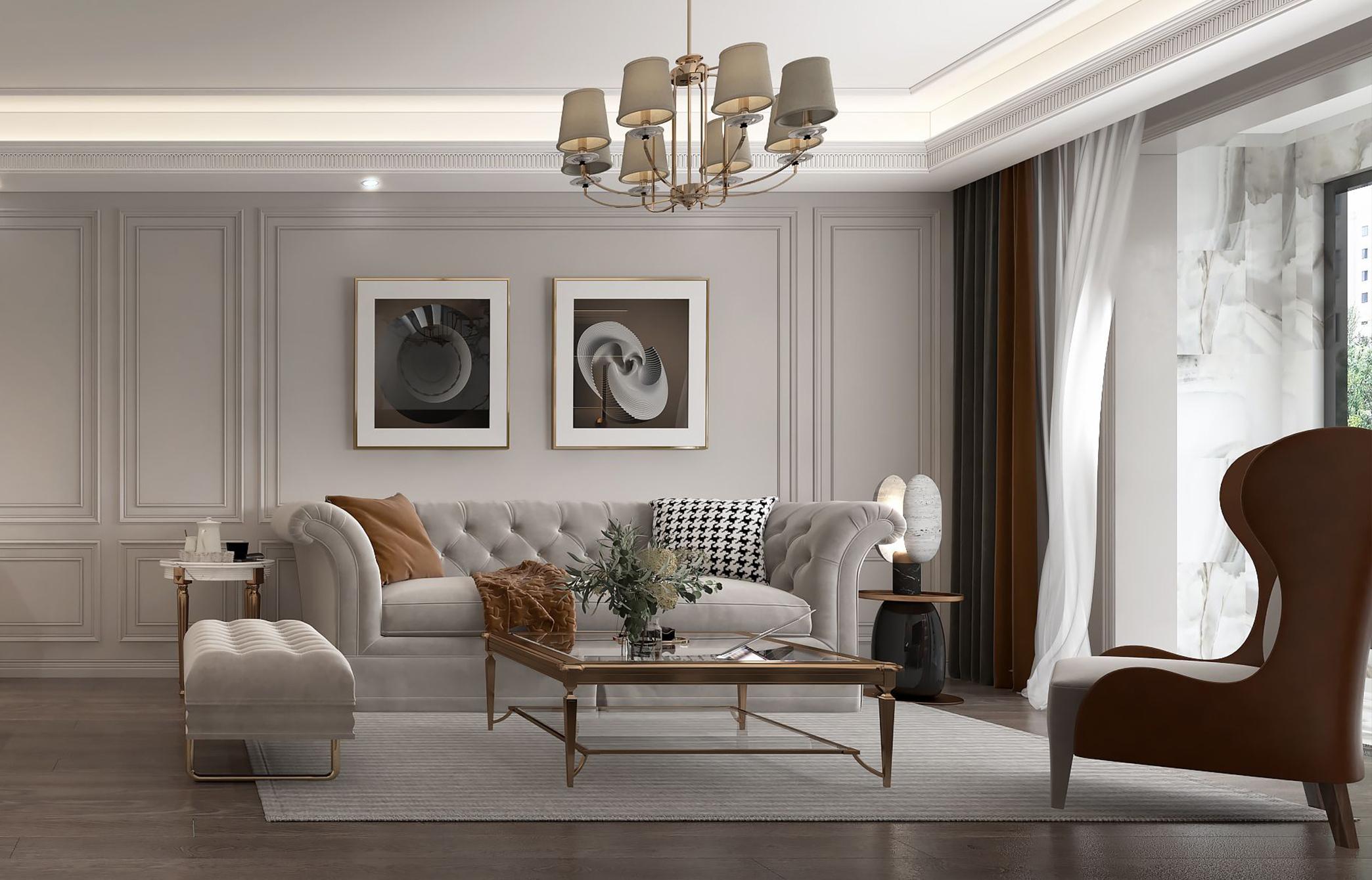125㎡现代<span style='color: #ff0000'>美式风格</span>三居室,主卧套房设计超实用